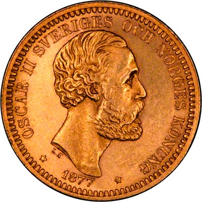 Obverse of 1877 Swedish 20 Kronor
