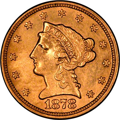 Liberty Head Obverse Design on 1878 American Gold Quarter Eagle