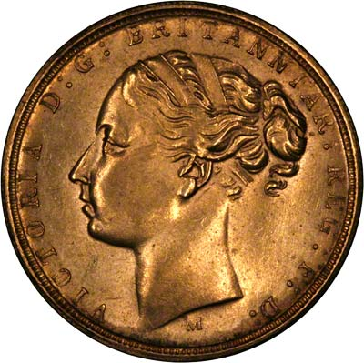Obverse of Fake 1879 Victoria Young Head Double Sovereign