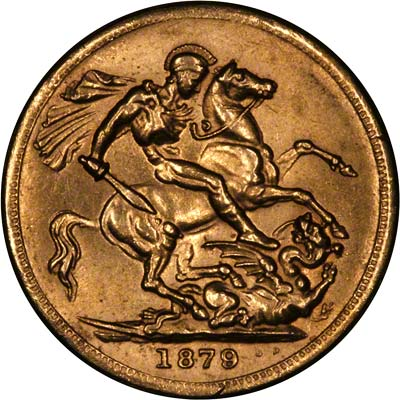 Reverse of Fake 1879 Victoria Young Head Double Sovereign