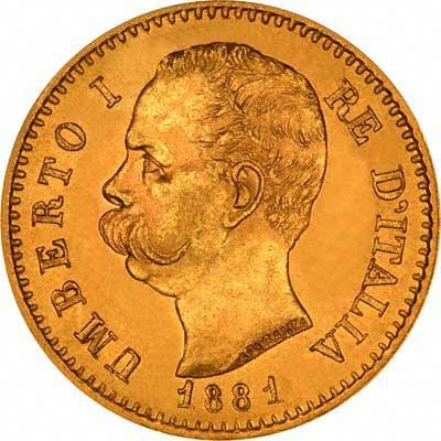 Obverse of 1881 Italian Gold 20 Lire