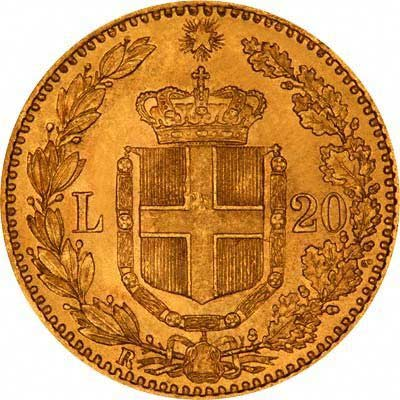 Reverse of 1881 Italian Gold 20 Lire