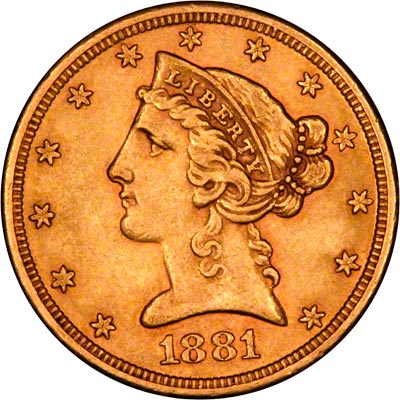 Obverse of 1881 American Five Dollar Gold Coin
