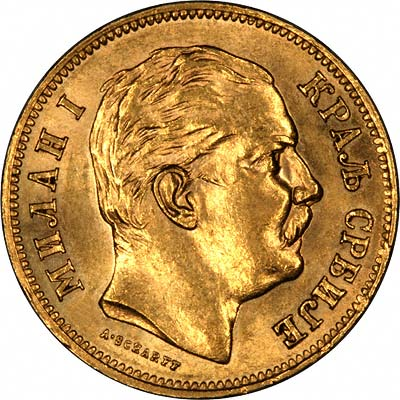 King Milan I on Obverse of 1882 Serbian 20 Dinara