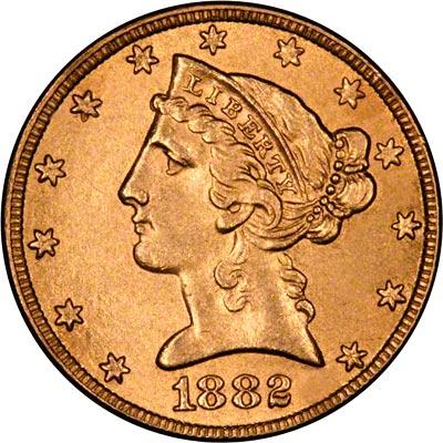 1882 Gold 5 Half Eagles For Sale