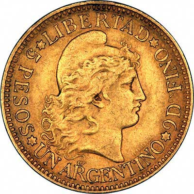 Obverse of Argentinian 5 Pesos of 1886