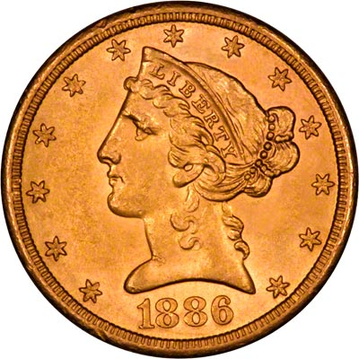 Obverse of 1886 American Five Dollar Gold Coin
