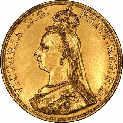 Obverse of 1887 Gold Five Pounds