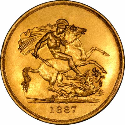 Reverse of 1887 Gold Five Pounds