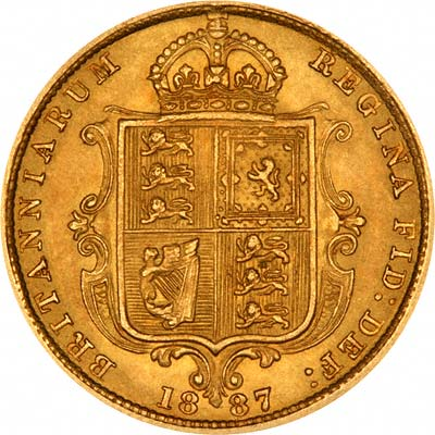 Reverse of 1887 Victoria Jubilee Head Half Sovereign