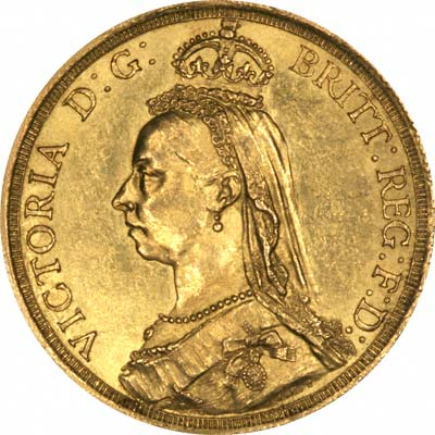 Golden Jubilee Portrait on Obverse of 1887 Gold Two Pound Coins