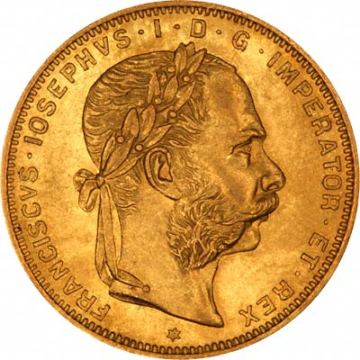 Franz Joseph on Obverse of Austrian 20 Francs 8 Florins of 1889