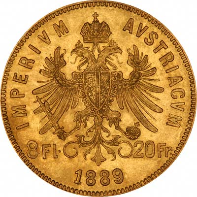 Reverse of Austrian 20 Francs 8 Florins of 1889