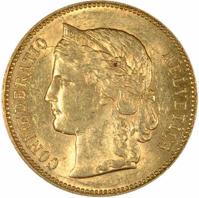 Our 1890 Swiss Helvetia Gold 20 Francs Obverse Photo