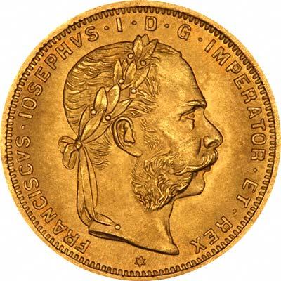 1892 Austrian Gold 20 Francs 8 Florins