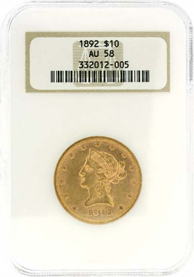 Liberty Head Obverse Design on 1892 American Gold Eagle