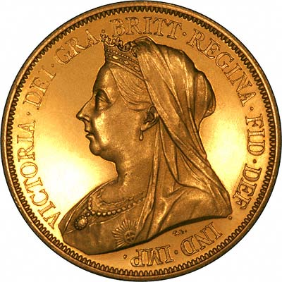 Obverse of 1893 Gold Five Pounds