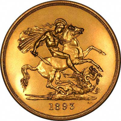 Reverse of 1893 Gold Five Pounds