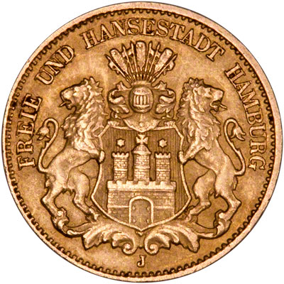 Obverse of Hamburg 10 Marks of 1893