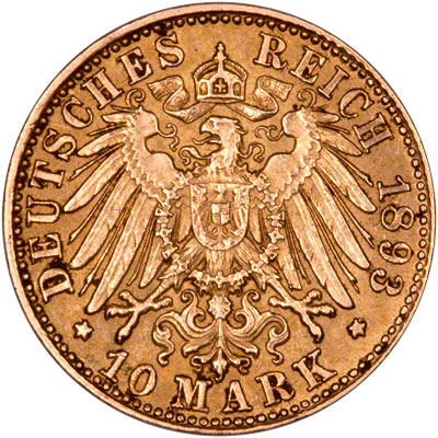 Reverse of German 10 Marks of 1893
