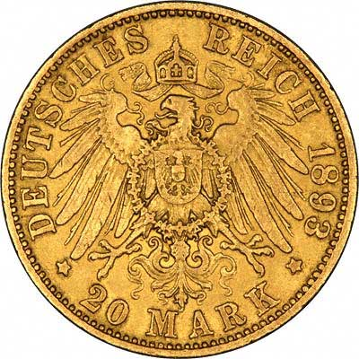 Reverse of German 20 Marks of 1893