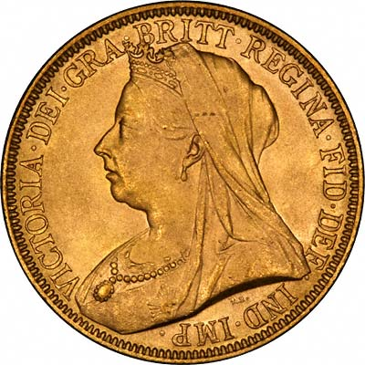 Obverse of 1893 Gold Two Pounds