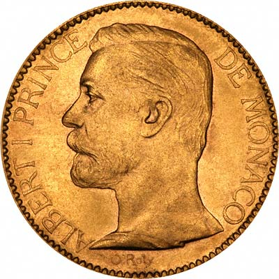 Obverse of 100 Francs of Albert I Prince of Monaco