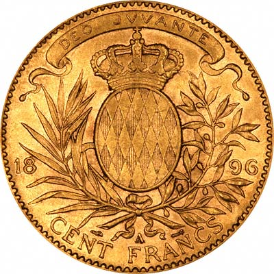 Reverse of 100 Francs of Albert I Prince of Monaco