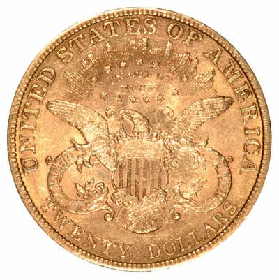 Flying Eagle Reverse Design on an American Gold Double Eagle of 1896