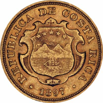Reverse of 1974 Costa Rican 1500 Colones