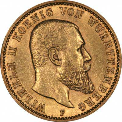 Obverse of 1897 Wuerttemberg 20 Marks