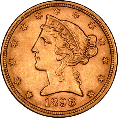 Obverse of 1898 American Five Dollar Gold Coin