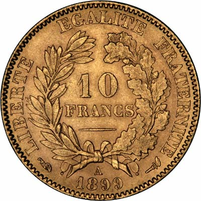 Reverse of 1899 French 10 Francs