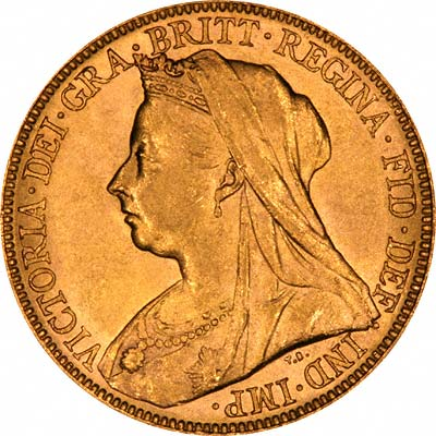 Obverse of 1899 Melbourne Mint Victoria Old Head Gold Sovereign