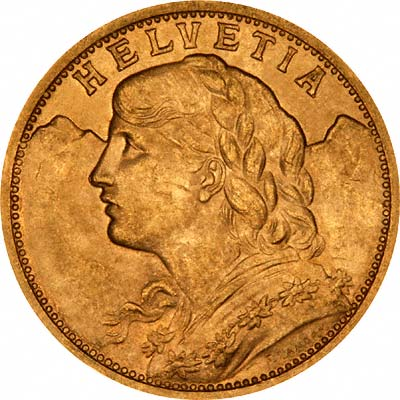Swiss 20 Franc Gold Coins Vreneli Chards Tax Free Gold