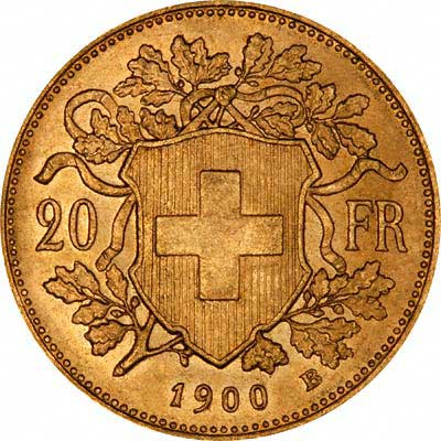 Reverse of 1900 Vrenelli Swiss 20 Francs