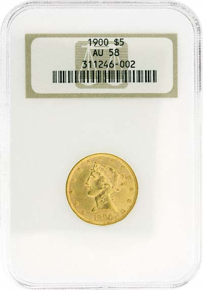 Liberty Head Obverse Design on 1900 American Gold Half Eagle