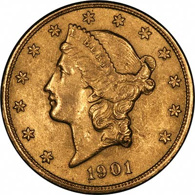 Obverse of Fake 1901-S US Gold Double Eagle