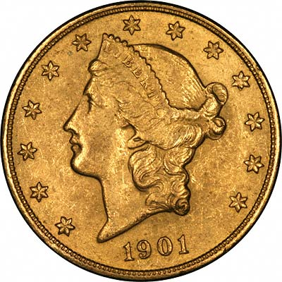 Obverse of Yellow Gold Fake 1901-S US Double Eagle