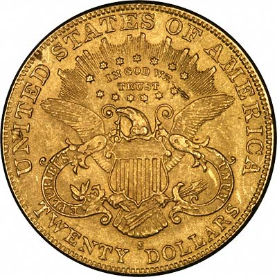 Reverse of Yellow Gold Fake 1901-S US Double Eagle