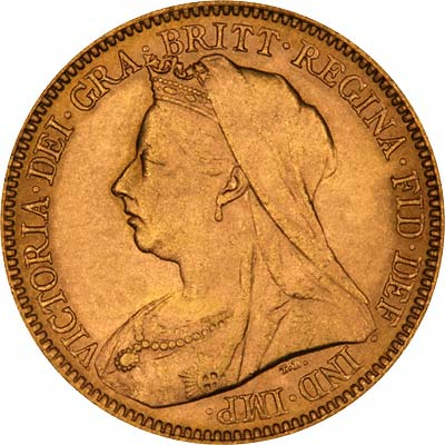 Obverse of 1901 Victoria Old Head Half Sovereign