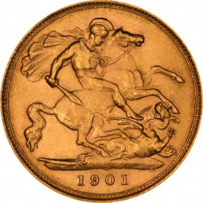 Reverse of 1901 Victoria Old Head Half Sovereign