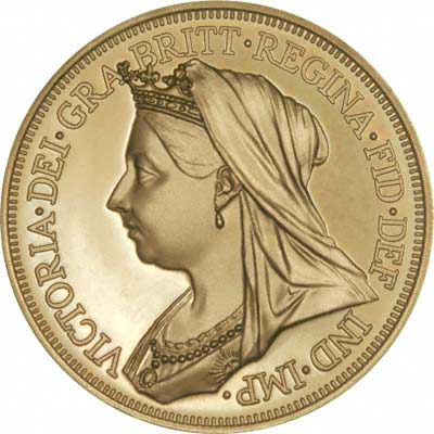 Veiled Old Head Portaitt of Queen Victoria on Obverse of 1901 Irish Gold Fantasy Four  Shillings