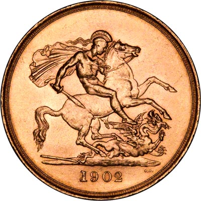 Reverse of 1902 Gold Five Pounds