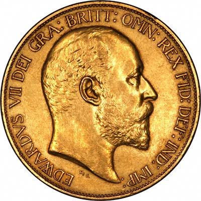 Obverse of 1902 Gold Five Pounds