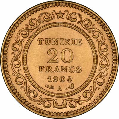 Reverse of 1904 Tunisian 20 Francs