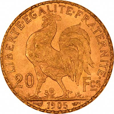 Gallic Cockerel on Reverse of 1905 French 20 Francs