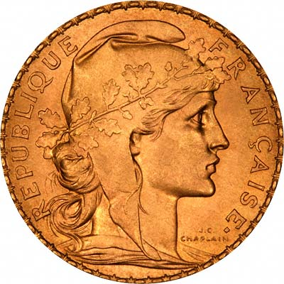 Head of Marianne as Ceres on Obverse of 1908 French 20 Francs