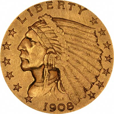 Indian Head Obverse Design on 1908 American Gold Quarter Eagle