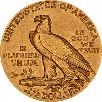 Walking Eagle Reverse Design on 1908 American Gold Quarter Eagle
